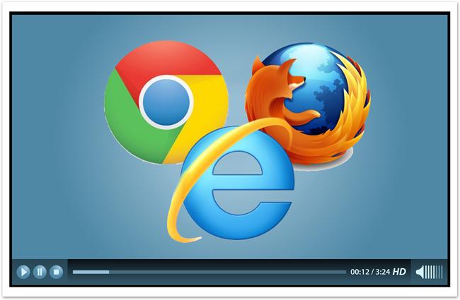 Logos from Firefox, Chrome, Safari, and Internet Explorer