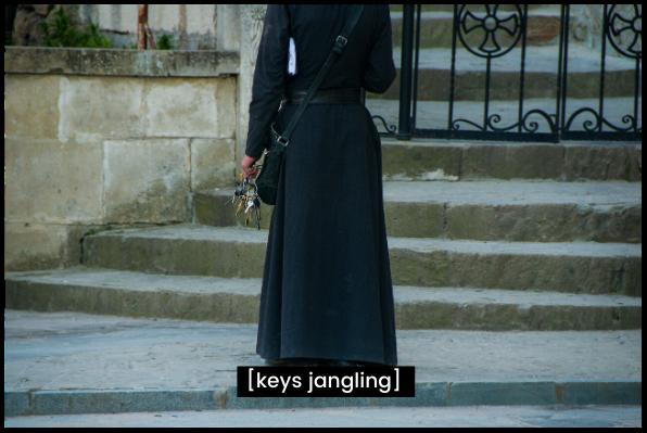 "person holds a set of keys. Caption reads ""keys jangling"""