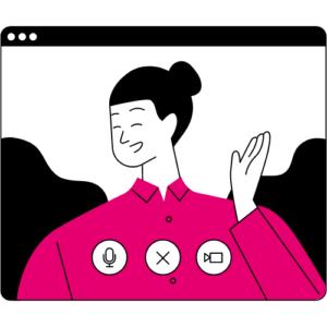 Cartoon woman laughing on video screen
