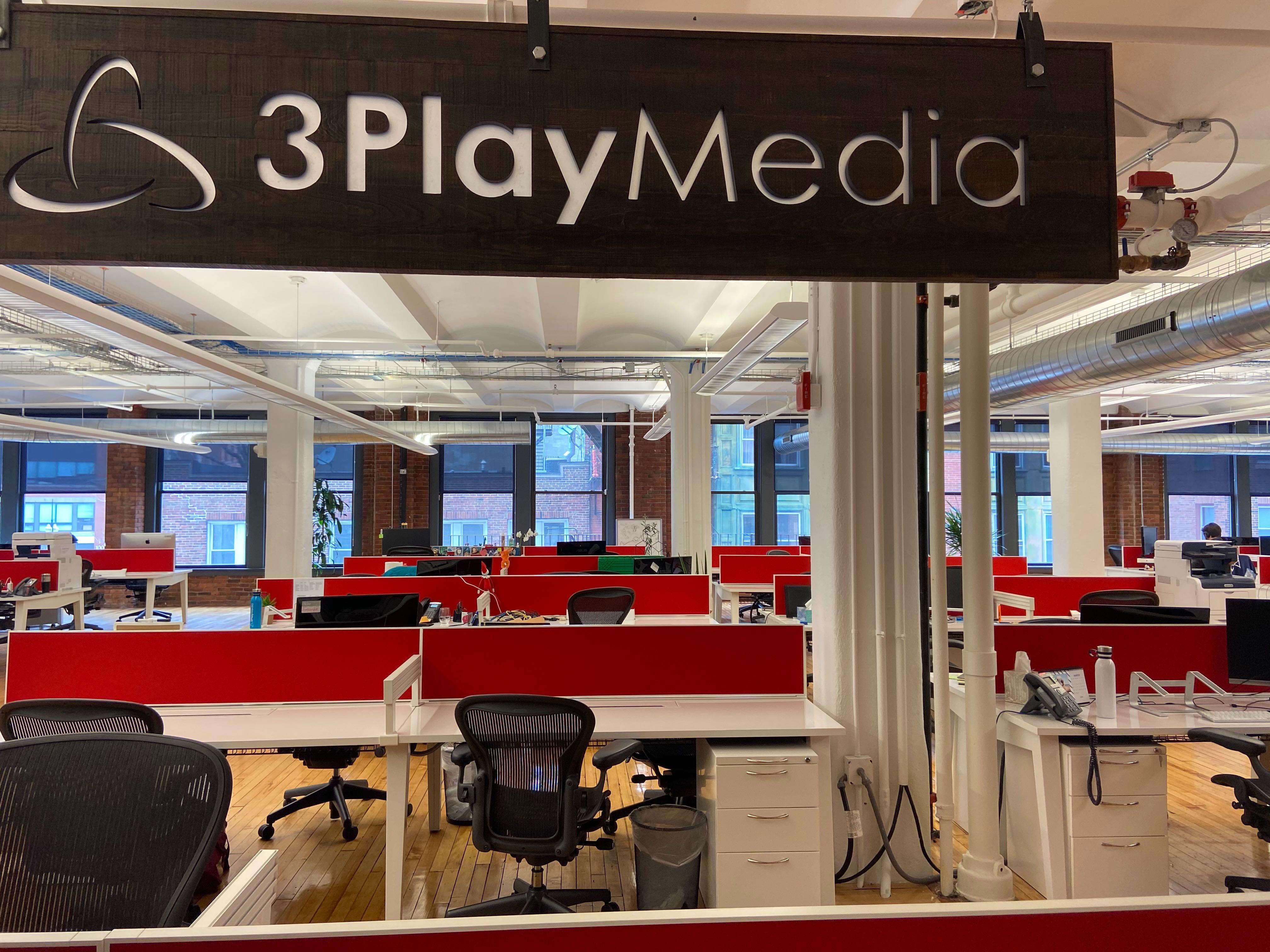3Play Media sign in the new office on N Washington Street, Boston.