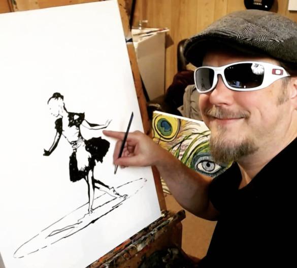 John Bramblitt smiles next to his painting of a ballerina