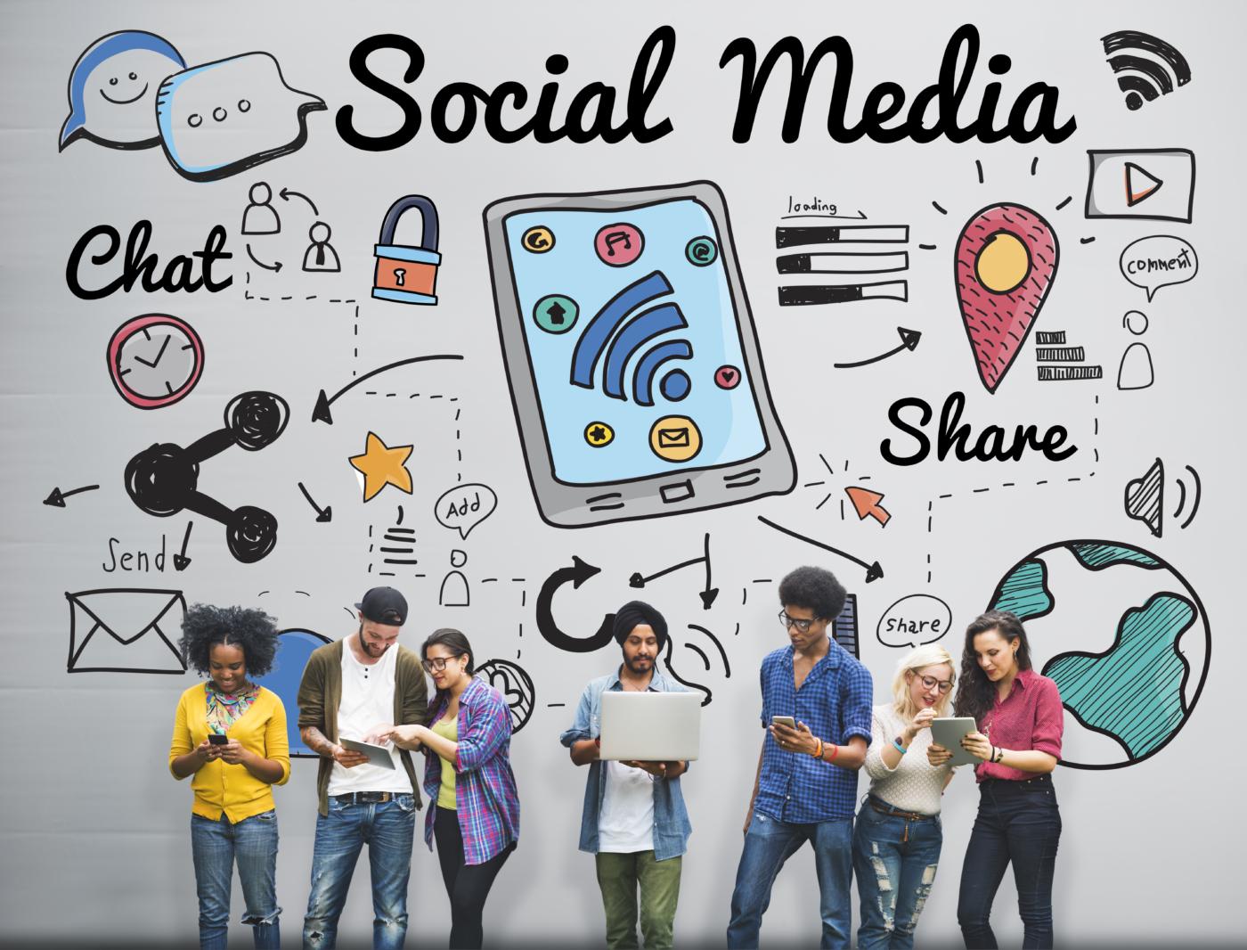 Social Media Chat Share Global Communication Concept